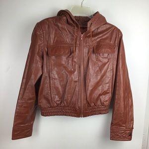 WILSONS LEATHER Brown Hooded Zip Jacket